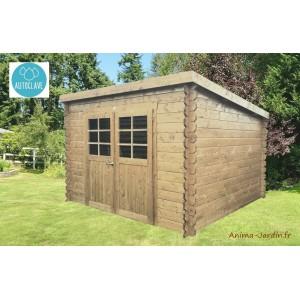 Abri de jardin en bois traité autoclave 28mm, Riom, 6m², 2 portes,  monopente, Solid, pas cher