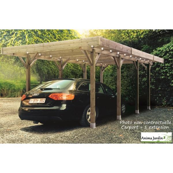 carport bois autoclave 3 mètres, abri pour voiture, solid, pas cher