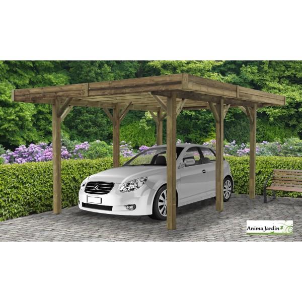 carport bois autoclave 4 mètres, abri pour voiture, solid, pas cher