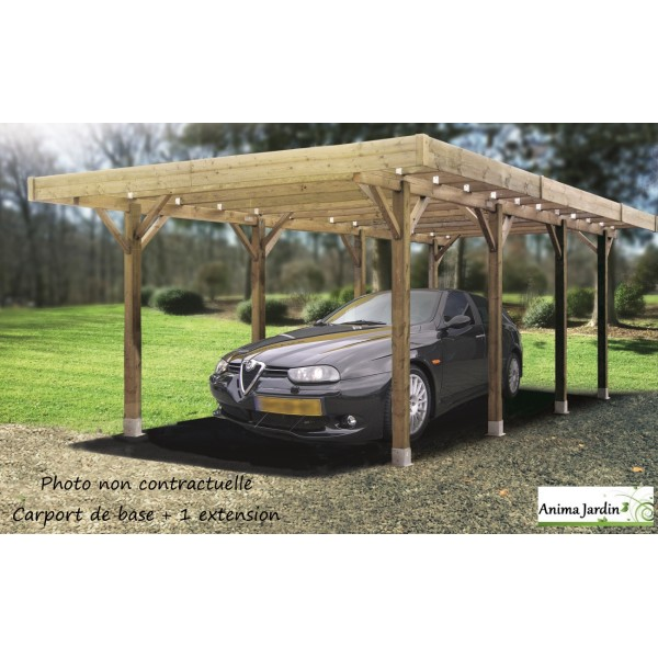 carport bois autoclave 5 m tres abri pour voiture solid. Black Bedroom Furniture Sets. Home Design Ideas