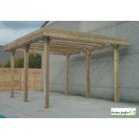 Grand carport bois autoclave 5 mètres, abri pour grands véhicules, camping-car, Solid,  pas cher