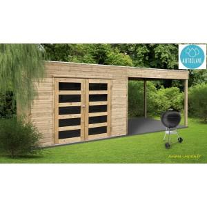 Abri de jardin avec avancée en bois autoclave 19mm, Salerno, 5m², double  porte,Solid, pas cher, achat
