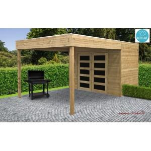 Abri de jardin avec avancée en bois autoclave 19mm, Potenza, 5m², double porte,Solid, pas cher, achat