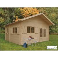 Abri de jardin en bois 40mm, Weekend, 23 m², 4 pièces, 2 portes, solid, pas cher, habitable