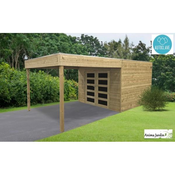 Abri de jardin en bois avec avancée, traité autoclave 19mm, Matera ...