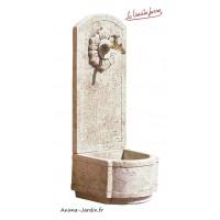 Fontaine Murale en pierre reconstituée, tournesol , haut 101cm