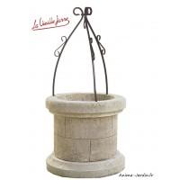 Puits en pierre reconstituée, vieilli, la Vieille Jarre, puits de jardin, achat