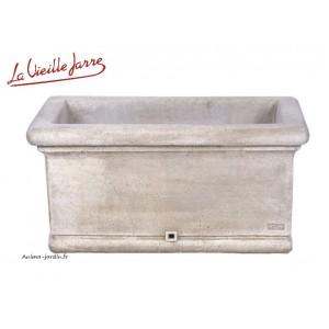 Jardinière lisse 85 cm en pierre reconstituée, ancienne, Grandon, PJ60