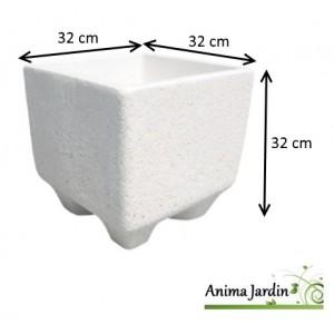 Bac carré, Manga, en marbre grainé blanc, poterie de jardin, achat, vente
