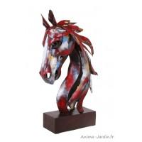 Statue, tête de cheval, silhouette, métal, décoration intérieure, Socadis, achat, vente