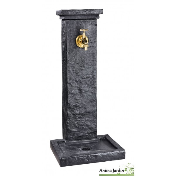Fontaine borne schiste, en pierre reconstituée, 82,5 cm, jardin ...