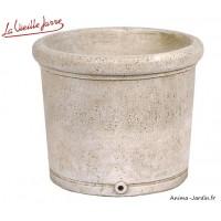 Vase rond lisse en pierre reconstituée, 54 cm, forme ancienne, bac  Vieille Jarre