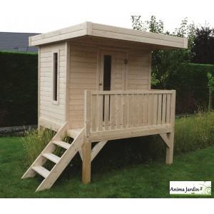 Cabane surélevée, pilotis, 3m², toit plat, abri enfant, Solid, pas cher, achat, vente