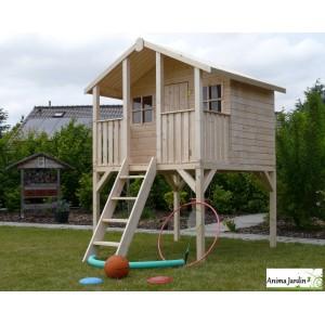 Cabane en bois surélevée sur pilotis, 3m², toit deux pentes, 1 porte, enfant, Solid, pas cher, achat, vente
