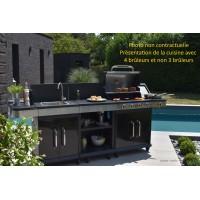 Cuisine d'extérieur FIDGI , Barbecue gaz, évier, plancha, desserte, 3 brûleurs, cook'in garden