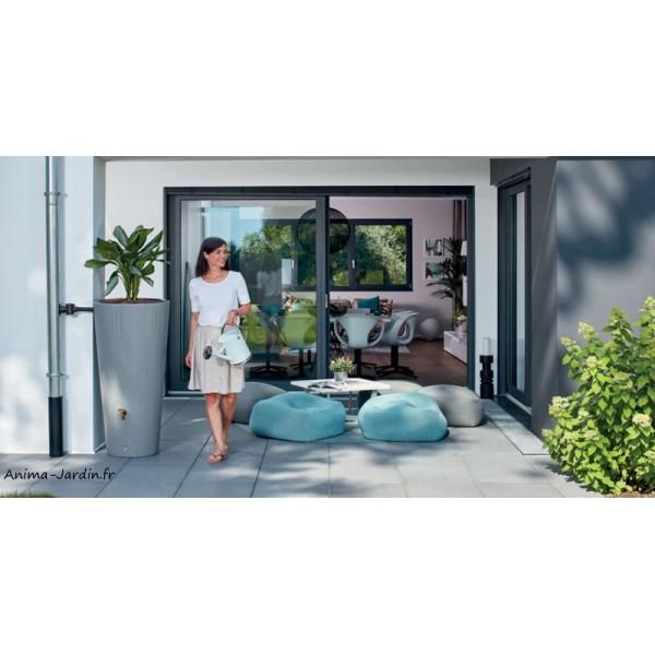 r cup rateur d 39 eau de pluie 220l linus 2 en 1 avec bac fleurs graf achat pas cher. Black Bedroom Furniture Sets. Home Design Ideas
