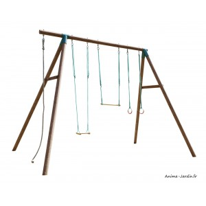 Portique en bois, Galdar, aire de jeux, balançoire, trapèze, anneaux, corde, achat, pas cher
