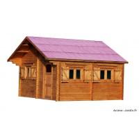 Grand abri de jardin en bois, grosse épaisseur de parois, 60mm, habitable,26,58m², Foresta, achat, pas cher