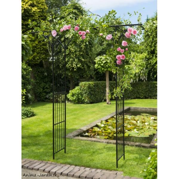 pergola double droite acier d coration du jardin all e. Black Bedroom Furniture Sets. Home Design Ideas