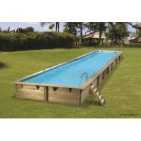 Grande piscine, Linéa, 15,50m x 3,50 m x  H155cm, rectangulaire, entourage bois, UBBINK, qualité, achat, vente, pas cher