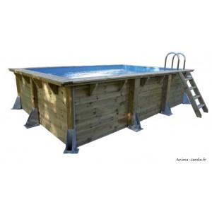 Piscine, Azura  3,50 x 5,05 m, H 126cm, rectangulaire, entourage bois, UBBINK, qualité, achat, vente, pas cher