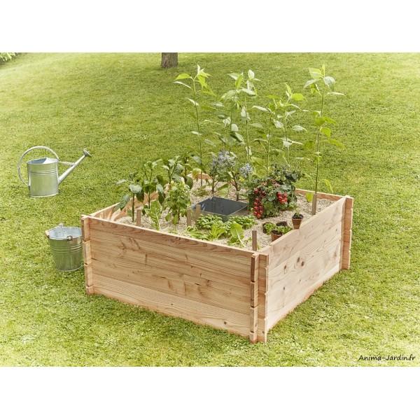 Petit carré potager en bois, Keyhole Garden, 120 x 120 cm, autonome ...