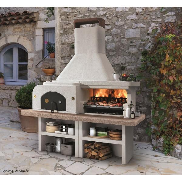 Barbecue en pierre, four, Gargano 3, béton, charbon de bois