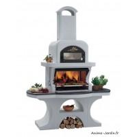 Barbecue en pierre, Capri 2, avec hotte, ciment, charbon de bois, Palazzetti, achat, pas cher