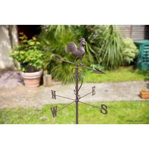 Girouette en métal, Roméo, coq, flèche, direction du vent, Nortene ...
