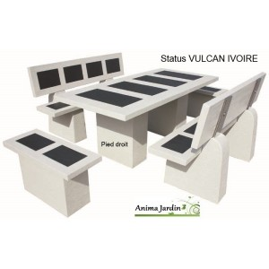 salon de jardin en b ton cir status vulcan ivoire framusa. Black Bedroom Furniture Sets. Home Design Ideas