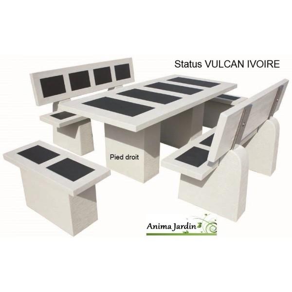 Salon de jardin en b ton cir status vulcan ivoire framusa - Salon de jardin en beton ...