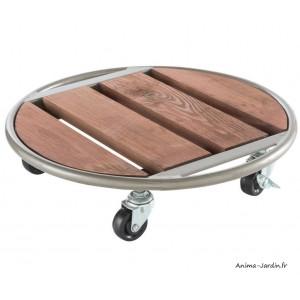 Support roulant, pot, Flora roll metal wood, 35 cm, bois, métal, Nortène,  achat, pas cher