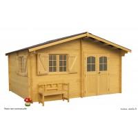 Abri de jardin en bois, 42 mm, semi-habitable, 17 m², grande façade, Foresta, achat, pas cher