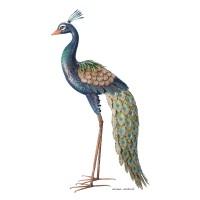 Paon en métal haut, 94 cm, déco  jardin, silhouette, Riviera, achat, oiseau decoratif