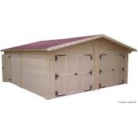 Garage double en bois massif, 42 mm, 35m², double pentes, Foresta, achat, pas cher
