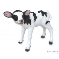 Veau, noir et blanc, 41 cm, animal en poly-résine, décoration du jardin, achat, vente, pas cher