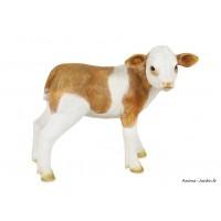 Veau, marron et blanc, 27 cm, animal en poly-résine, décoration du jardin, achat, vente, pas cher