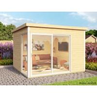 Abri de jardin en bois, 9 m², 44 mm, DOMEO 1, avec baie vitrée, épicéa, moderne, achat