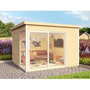 Abri de jardin en bois, 9m², 44 mm, DOMEO 1, avec baie vitrée, épicéa, moderne, achat