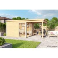 Abri de jardin en bois, 9 m², 44 mm, DOMEO 2, avec avancée, baie vitrée, épicéa, achat