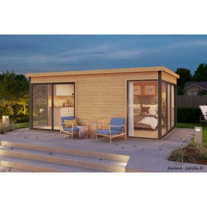 Abri de jardin en bois, 16 m², 44 mm, DOMEO 3, deux parties, baie vitrée, épicéa, achat