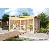 Abri de jardin en bois, 13 m², 44 mm, DOMEO 4, toit plat, baie vitrée, épicéa, achat