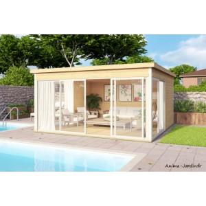 Abri de jardin en bois, 17 m², 44 mm, DOMEO 5, toit plat, baie vitrée, épicéa, achat