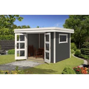 Abri de jardin en bois, 29 mm, Faro 1, 7 m², anthracite, toit plat, épicéa, achat