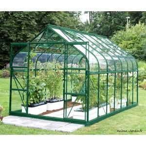 Serre de jardin en aluminium, 11,45 m², laqué vert, verre trempé, Aloé Diana, Lams, achat