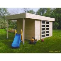 Abri de jardin en bois 28 mm, Larvik, toit plat, 8m², Solid, pas cher, achat, vente