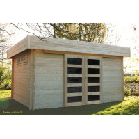 Abri de jardin en bois 40 mm, Viborg, toit plat, 11,89m², Solid, pas cher