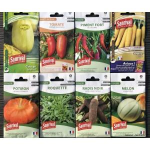 Lot de 8 sachets de graines, variétés originales, potager, jardin ouvrier, Sanrival, pas cher, économique