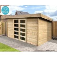 Chalet de  jardin 28mm, 11.38m², moderne, autoclave, toit plat, solid, MALMO, achat/vente