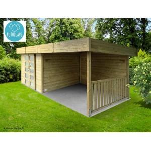 Abri de  jardin toit plat, 28mm, moderne, solid, ARHUS, achat/vente